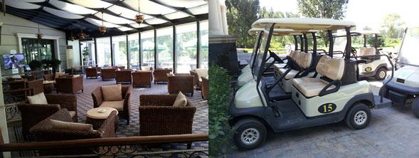 Golfklubben lobby och golfbilar